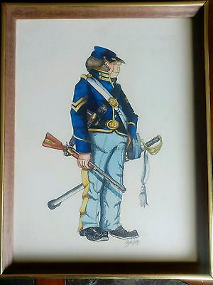 Vintage Large civil war cartoon art Print By Bruce