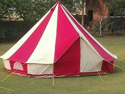 4m Metre GlampTex RC400- Ultimate Red and Cream Bell tent with ZIG Cotton Canvas