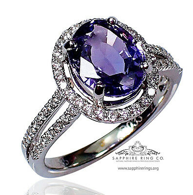 GIA Certified 14kt 3.08 tcw Oval Purple-Violet Natural Sapphire & Diamond Ring