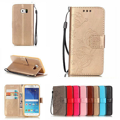 Luxury Leather Magnetic Flip Wallet Case Stand Cover For Samsung Galaxy S6 S7 S4