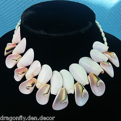 """Vtg Island Conch Cone Sea Shell Mother Of Pearl Bead Chunky Choker 16"""" Necklace"""