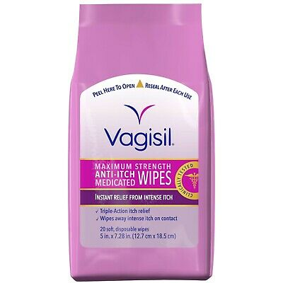Vagisil Maximum Strength Anti-itch Medicated Wipes Pack - 20 ct