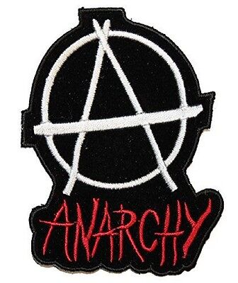 ANARCHY Punk Rock Anarcho Biker Skins Embroidered Iron Sew On Shirt Badge Patch