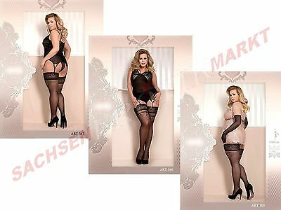 Edle Strümpfe BALLERINA Spitze Muster Nylons Stockings XL XXL Big Size Dessous