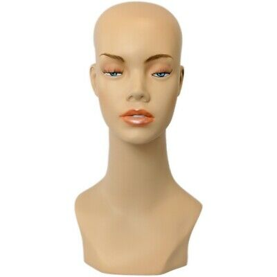 MN-412 Female Mannequin Display Head Form with Bust and Sultry Eyes Makeup