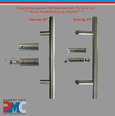 Pull handle Door Rod Stainless steel V2A Inox straight 90° / 45°
