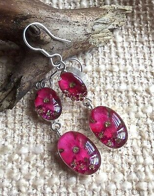 MEXICAN EARRINGS .925 Sterling Silver Pressed Natural Flowers Oval Design