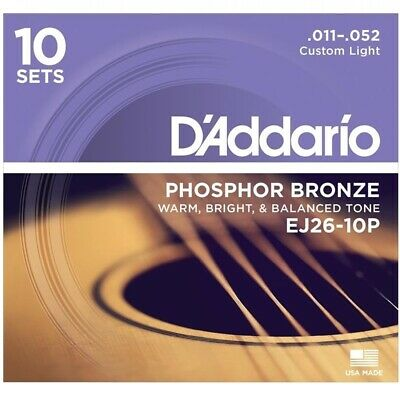 D'Addario EJ26 Phosphor Bronze Cus/Light Acoustic Guitar Strings 10-Pack 11 - 52