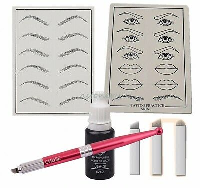 Microblading Permanent Eyebrow Make Up KIT: pen Practice Skin Needle for Learner