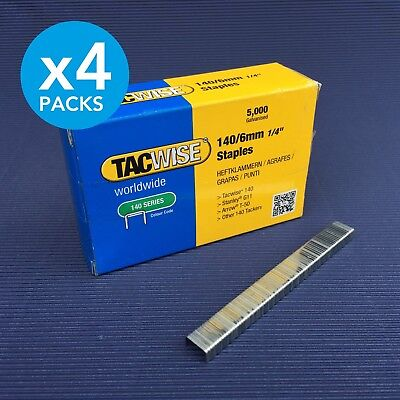 "4 Packs 5000 Heavy Duty Galvanised Rapesco Tacwise Staples 140/6 6mm (1/4"")"