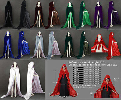 Velvet Hooded Cloak/Cape Halloween Wedding Pagan Witch-Various colours Size S-6X
