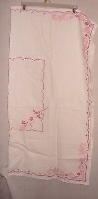Vintage hand cross stitched tablecloth off white/ two-tone pink stiching  38x37