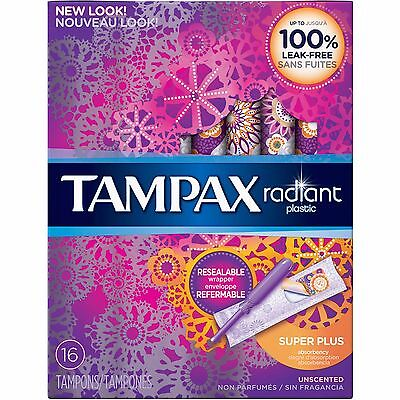 Tampax Radiant Plastic Unscented Super Plus Absorbent Tampons, 16 count