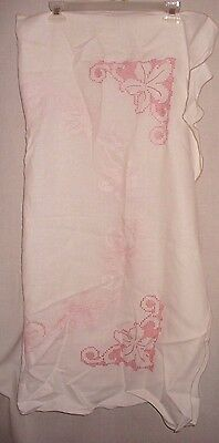 Vintage hand cross stitched tablecloth off white/ two-tone pink stiching  38x40