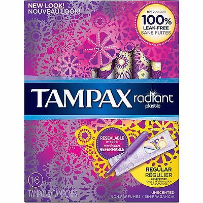 Tampax Radiant Plastic Unscented Regular Absorbent Tampons, 16 count