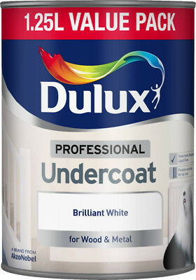 Dulux Professional Undercoat Paint 1.25L Brilliant White For Wood & Metal