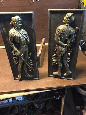 Vintage Bull Fighter Spanish Art Deco Fire Place Andirons Iron