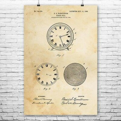 Clock Face Dial Poster Patent Print Gift Clock Poster Clock Wall Clock Patent