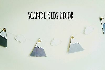 mountain cloud garland kids bedroom nursery scandinavian tribal home decor