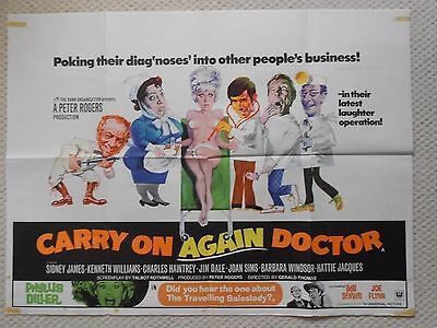 Carry on Again Doctor, Original UK Quad Poster, Sid James, Kenneth Williams 69