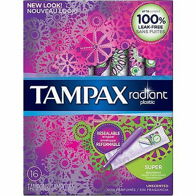Tampax Radiant Plastic Unscented Super Absorbent Tampons, 16 count