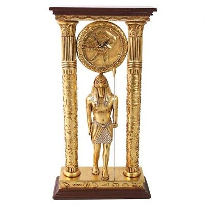 Antiqued Royal Egyptian Falcon God Eye of Horus Gold Finish Sculptural Clock
