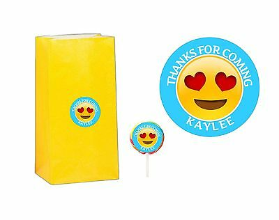 20 Emoji 2 inch Stickers Party Bag Tags Favors Lollipop Personalize ANY EMOJI
