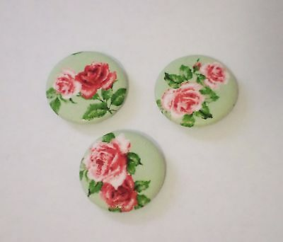 "Handmade Fabric Covered Button Large size 1.5"" 38 mm Red Pink Roses Metal Shank"