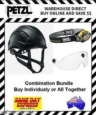 BLACK Petzl Vertex Vent Helmet Combination Bundle Pixa 3 Vizir Eye Shield Safety