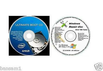 NEW Windows 8/7/XP Boot Repair Recovery Restore , Utilities 2 x CDs 2016 Version