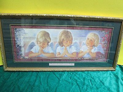 Homco Home Interiors Picture 3 Blonde Angels Cherubs Praying Matt 18:20