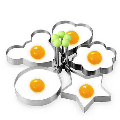 Stainless Steel Omelette Mould Mold Fried Egg Shaper Cook Kitchen Tool Reusable