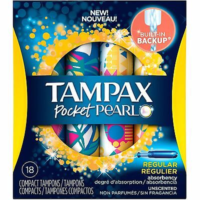 Tampax Pocket Pearl Regular Absorbency Unscented Compact Tampons, 18 count