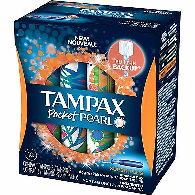 Tampax Pocket Pearl Super Plus Absorbency Unscented Compact Tampons, 18 count