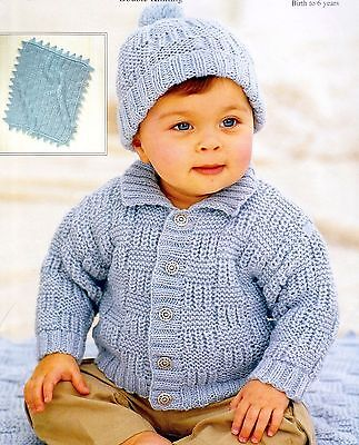 (758) DK Knitting Pattern for Baby Boys Girls Jacket, Hat and Blanket, 16-26''