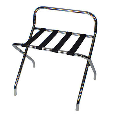 Luggage Rack Stand in Chrome for Bag Storage - Easy folds when not in use