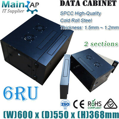 6RU 600X550mm Deep 2 Sections Wall Mount Network Server Cabinet Data Switch Rack