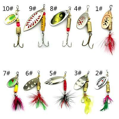 10pcs Spoon Hard Fishing Lures Sequin Paillette Baits + Feather Hook Tackle DA