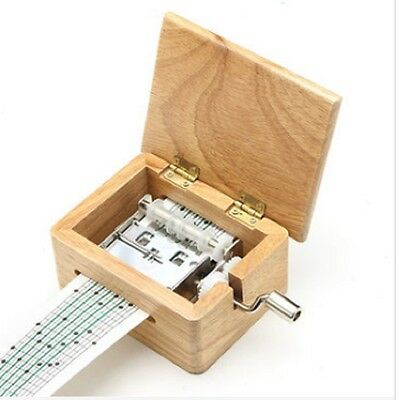 DIY Hand-cranked Music Box Wooden Box With Hole Puncher And 5bPaper Tapes