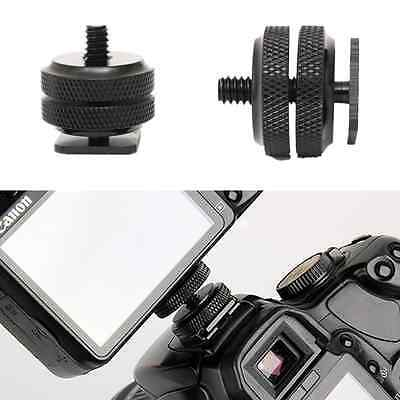 Pro 1/4 Inch Dual Nuts Tripod Mount Screw to Flash Camera Hot Shoe Adapter AV