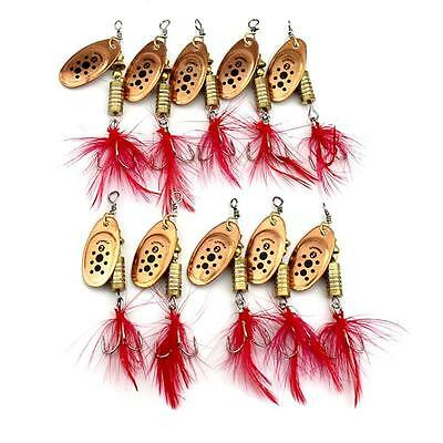 10pcs Spoon Hard Fishing Lures Sequin Paillette Baits +Feather Hook Tackle 1# GL