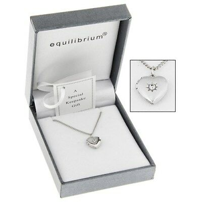 Equilibrium Silver Plated Necklace Heart Locket Bridesmaids Childs Birthday Gift
