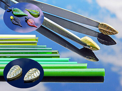 """lampworking tools, """"Athena small"""" 3D Tweezers-press small shape real leaf"""