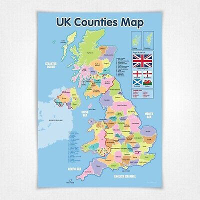 A1 NEW UK Counties Map Educational Poster