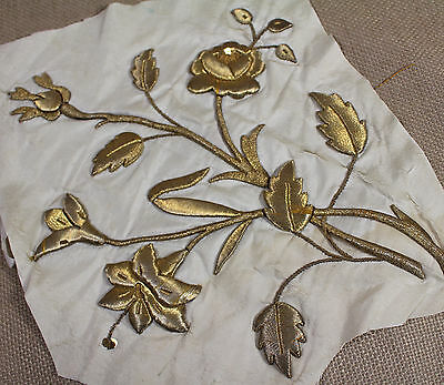 Antique French Gold Metallic Embroidery Roses Flower Stumpwork Applique