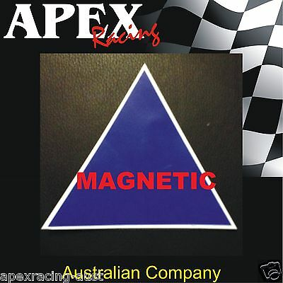 Magnetic Motor Racing CAMS Approved Sized Battery Blue Triangle Sticker
