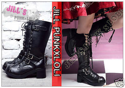 Punk lolita 15-Hole Buckle Strap Studs Boots 8/8.5 BLACK 39 2048