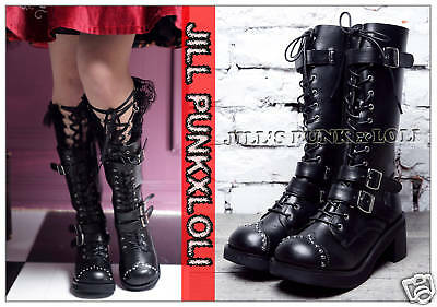 Punk lolita 15-Hole Buckle Strap Studs Boots 10/10.5 BLACK 43 2048
