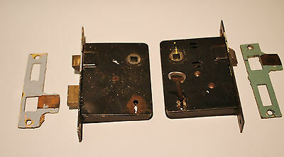 Architectural Antique Salvage - Two Art Deco Mortise Lock and Strike with Key
