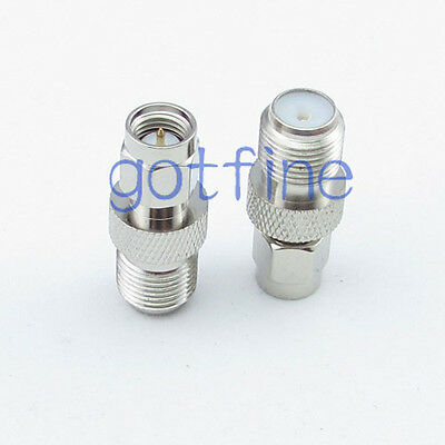 SMA male plug to F female jack straight RF connector adapter